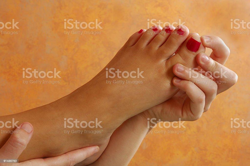 Reflexology Toe Massage royalty-free stock photo