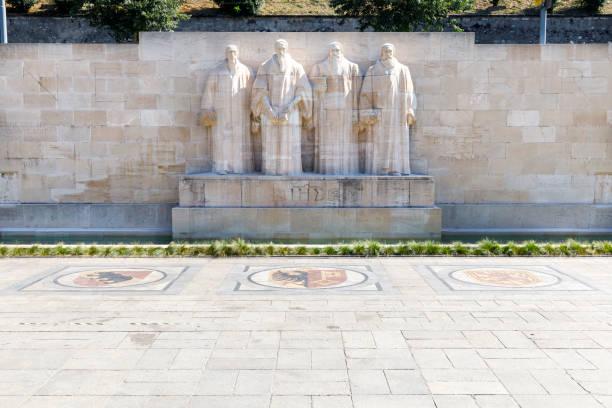 Reformation wall in Parc Des Bastions, Geneva, Switzerland stock photo