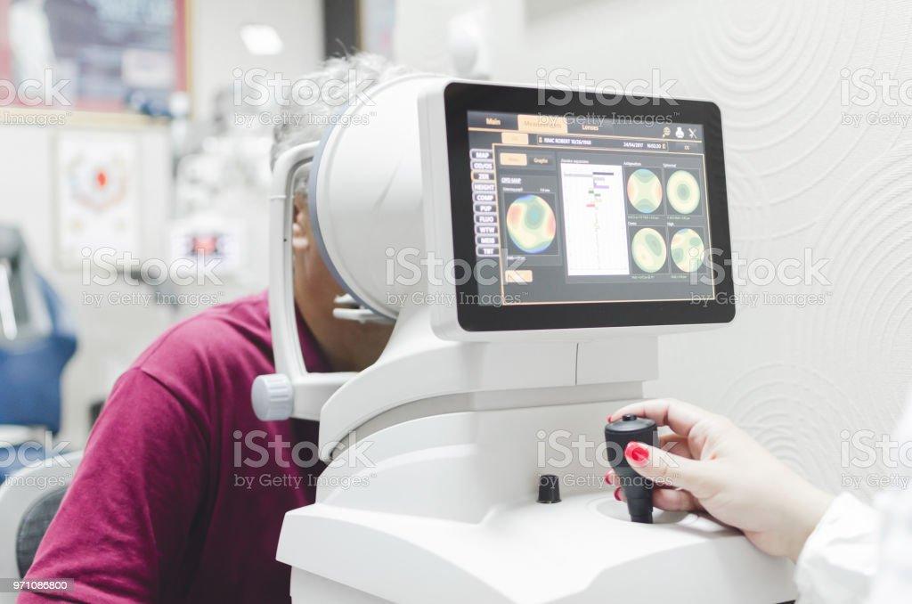 Refractometry. Keratometry. Refraction test. Optometry equipment. stock photo