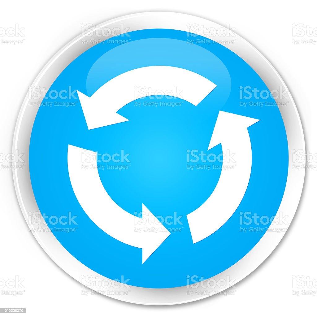 Refresh icon cyan blue glossy round button stock photo