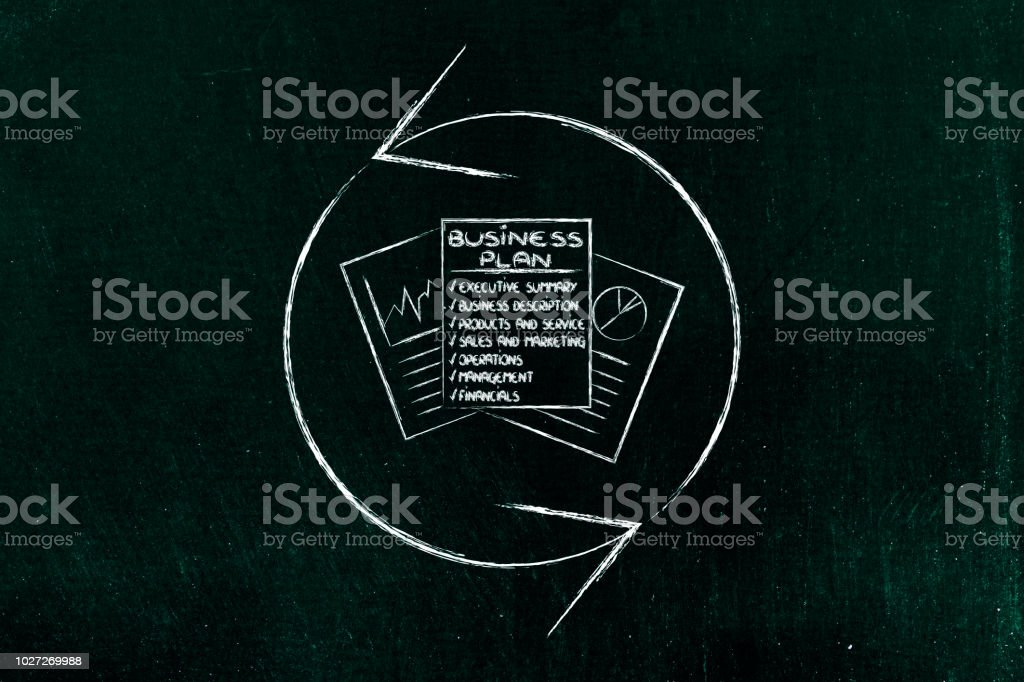 refresh symbol over business plan documents stock photo