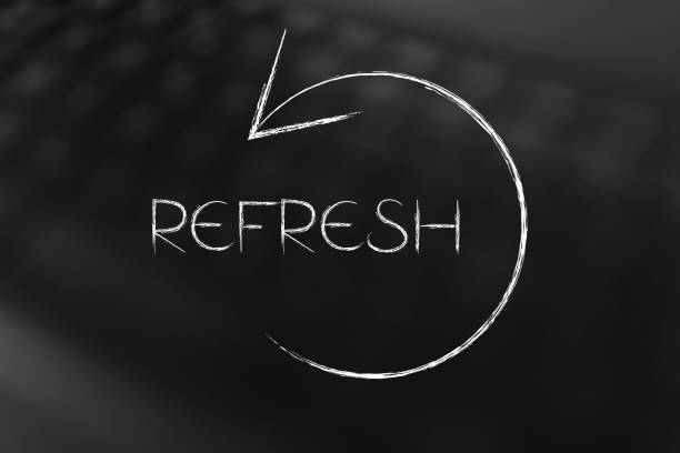 refresh symbol with text and arrow stock photo