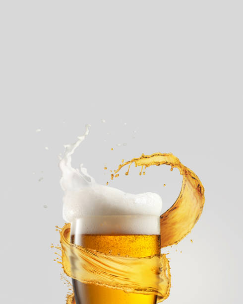 Refreshing beer glass with splash and thick foam. stock photo