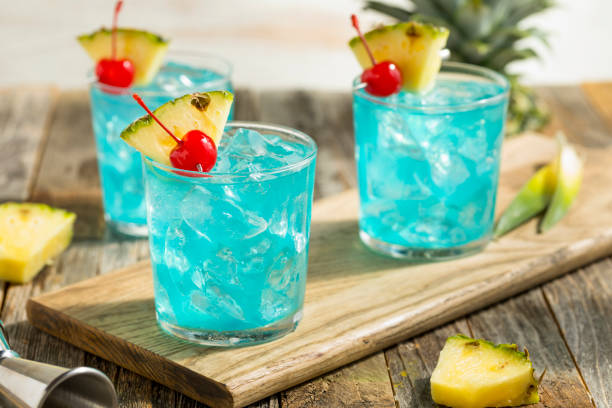 Refreshing Blue Hawaii Cocktail Punch stock photo