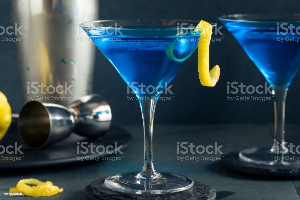Refreshing Blue Martini Cocktail stock photo