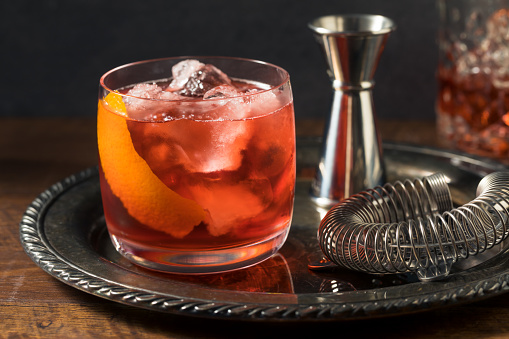 Refreshing Boozy Boulevardier Cocktail with Orange and Vermouth