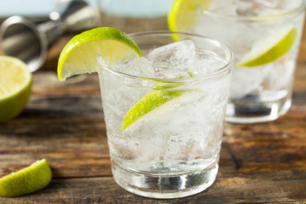 Refreshing Boozy Gin and Tonic stock photo