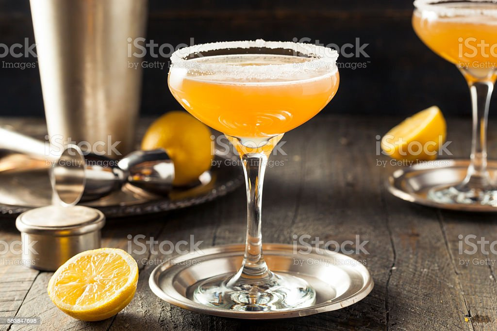 Refreshing Boozy Sidecar Cocktail stock photo