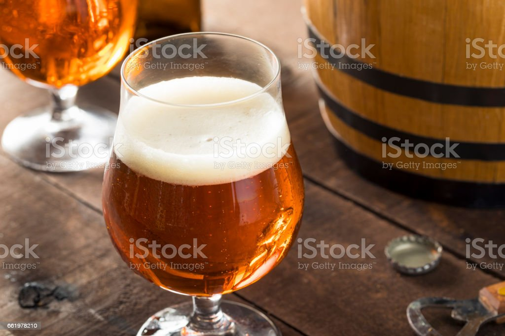 Refreshing Bourbon Barrel Aged Beer stock photo