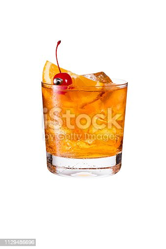 istock Refreshing Bourbon Old Fashioned Cocktail on White 1129486696