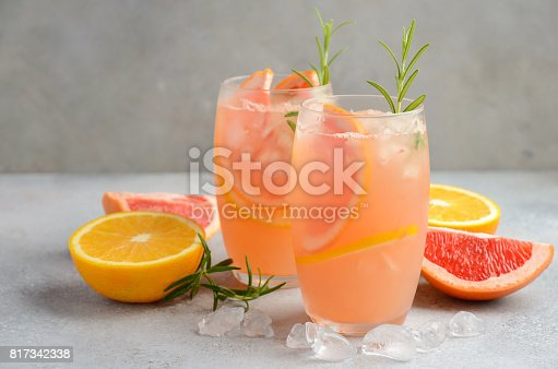 istock Refreshing citrus cocktail with grapefruit, orange and rosemary 817342338