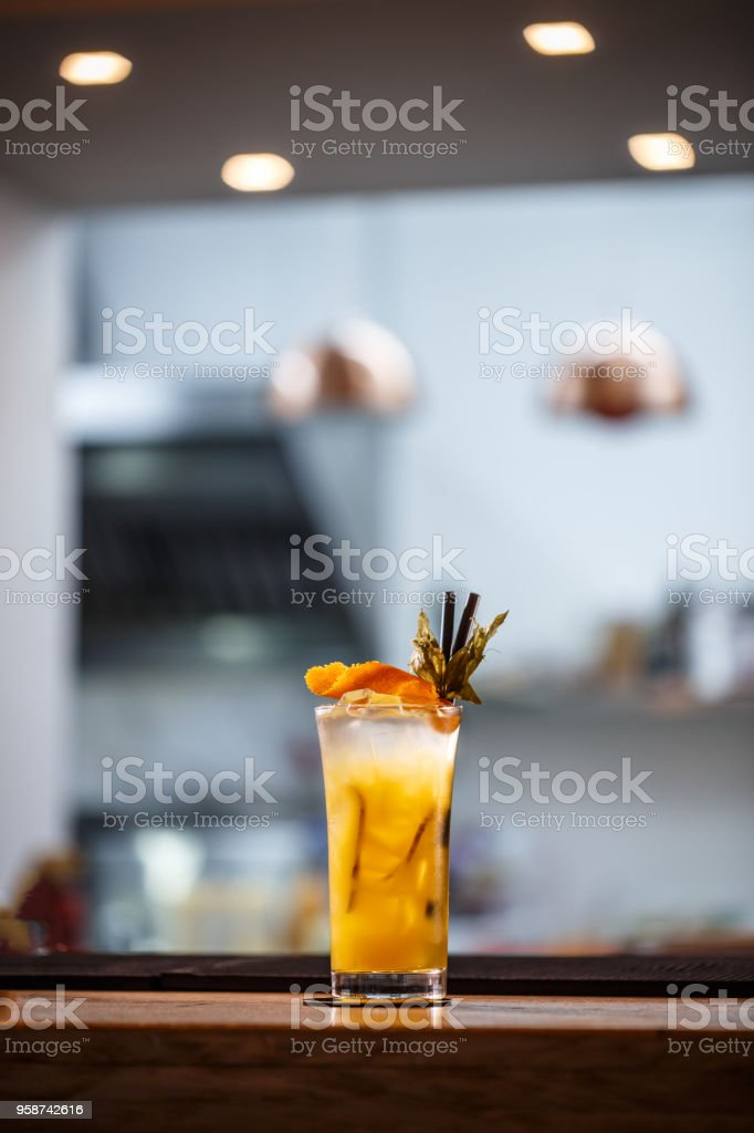Refreshing cold non-alcoholic cocktail stock photo