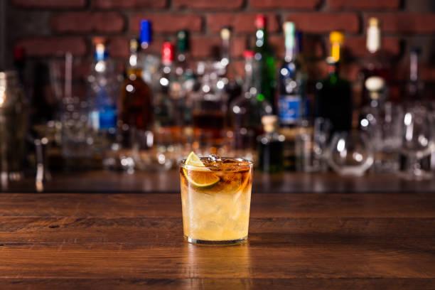 Refreshing Dark and Stormy Cocktail stock photo