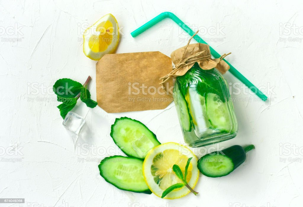 Refreshing drink in bottle with tag royalty-free stock photo
