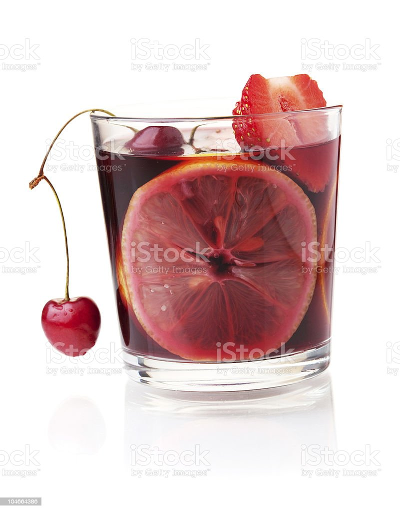 Refreshing fruit sangria with strawberry, orange and cherry royalty-free stock photo