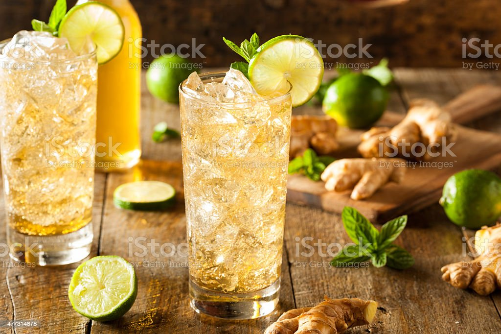 Refreshing Golden Ginger Beer stock photo