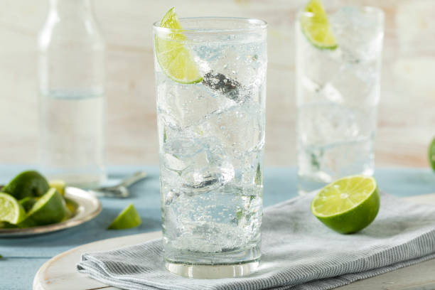 Refreshing Hard Sparkling Water stock photo
