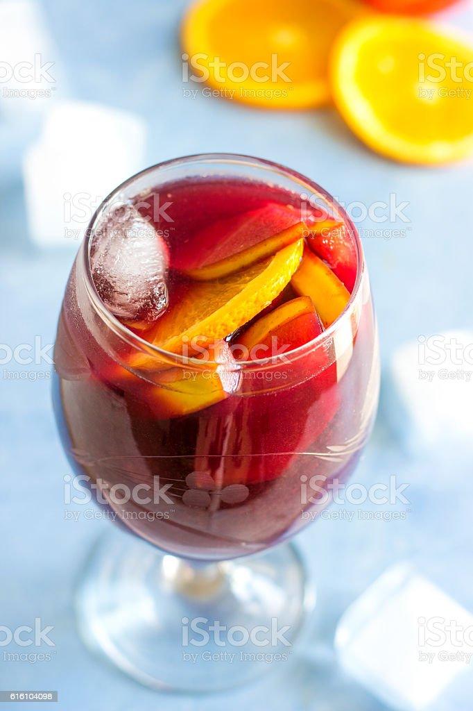 Refreshing Homemade Fruity Sangria stock photo