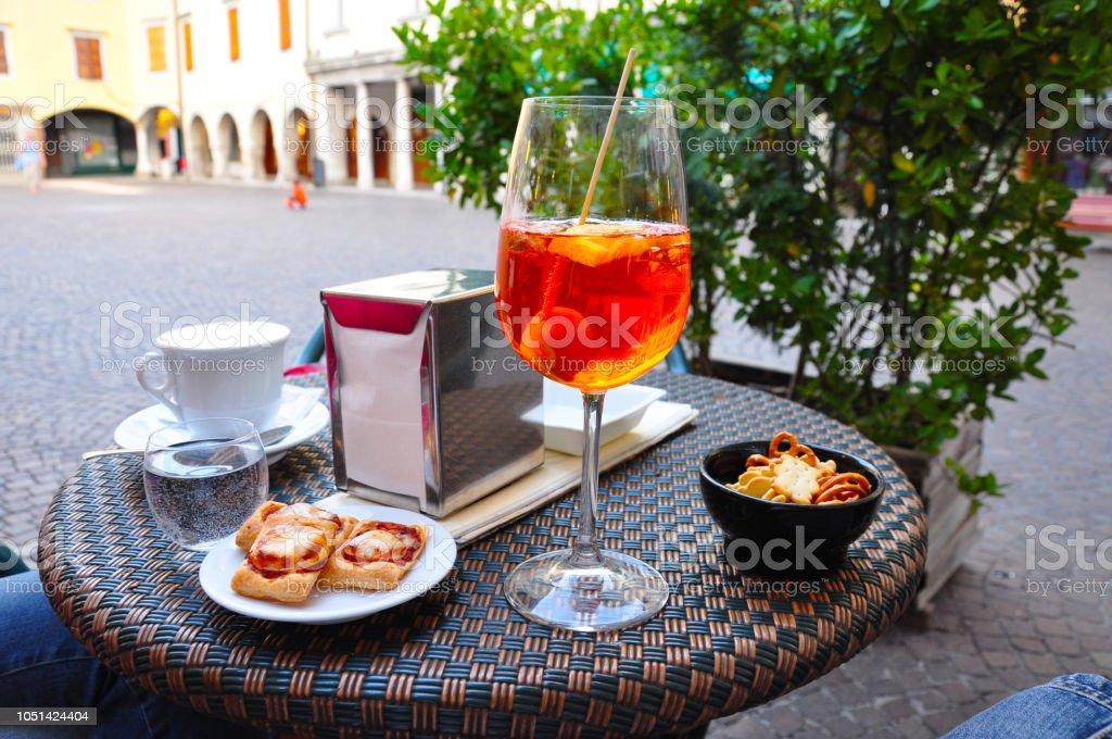 Refreshing italian aperol spritz stock photo