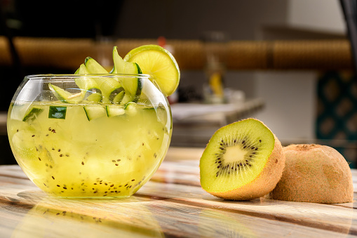 Refreshing Kiwi-flavored drink, cold drink with a rich kiwi flavor