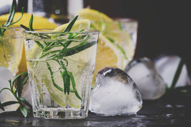 Refreshing lemon drink with rosemary, ice and tonic, black stone background, selective focus and toned image Refreshing lemon drink with rosemary, ice and tonic, black stone background, selective focus and toned image tonic water stock pictures, royalty-free photos & images