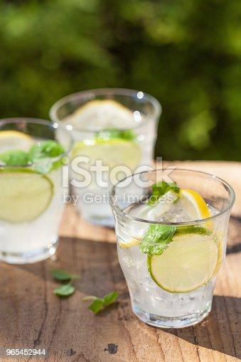 Refreshing Lemonade Drink With Mint Lime Lemon In Garden - Stockowe zdjęcia i więcej obrazów Bańka