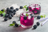 Refreshing lemonade with blackberry, ice and mint