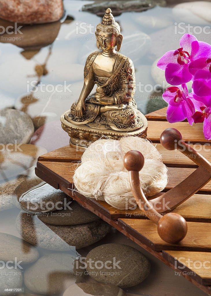 refreshing massage scene with Buddhism mindset stock photo