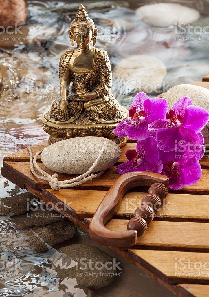refreshing massage with religious reflection stock photo