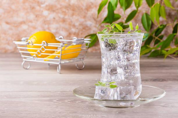 Maden suyu buz küpleri ve nane ile yenileme şeffaf cam ve limon dilimleri bir sepet içinde bırakır stok fotoğrafı