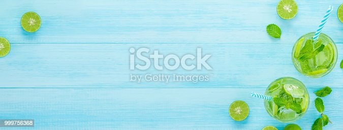 istock Refreshing Mojito cocktail drinks in the glasses , banner background 999756368