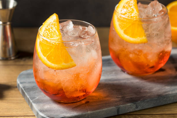 Refreshing Red Spritz Cocktail stock photo