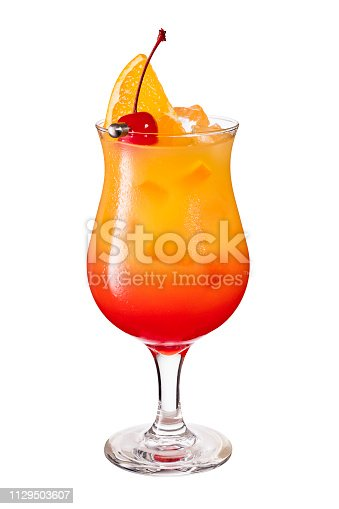 Refreshing Rum Hurricane Cocktail on White with a Clipping Path