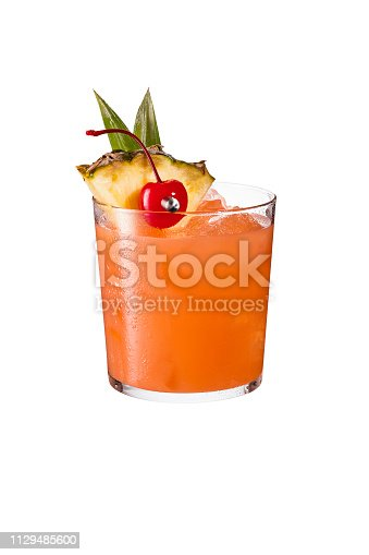 Refreshing Rum Mai Tai Cocktail on White with a Clipping Path