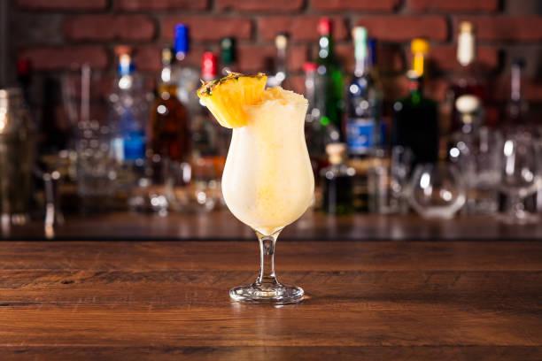 Refreshing Rum Pina Colada Cocktail stock photo