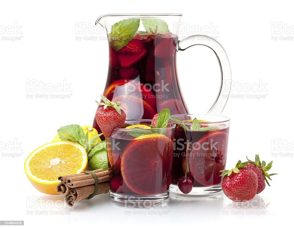 Refreshing sangria (punch) and fruits stock photo
