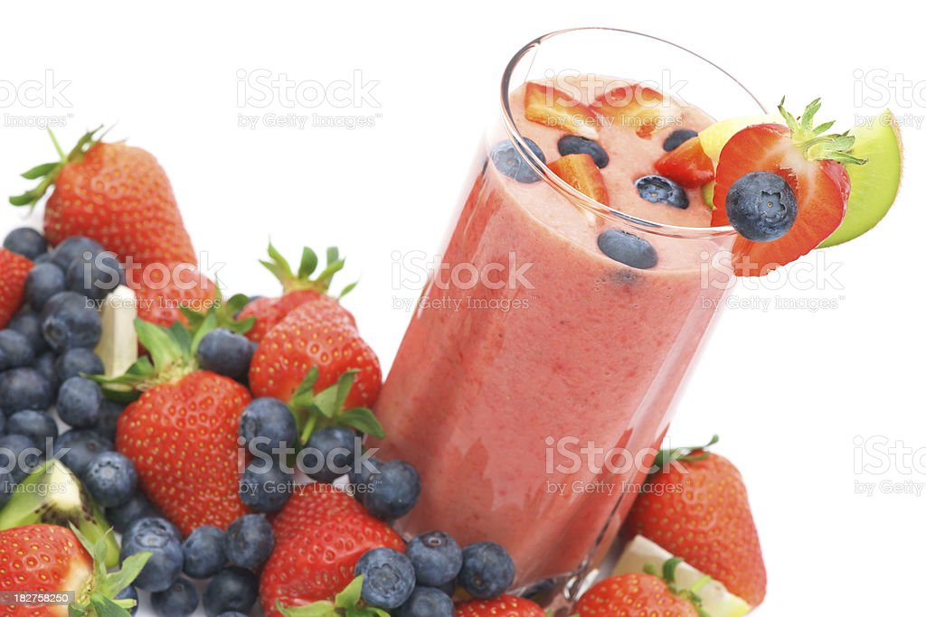 Refreshing strawberry smoothie closeup with fresh fruits royalty-free stock photo