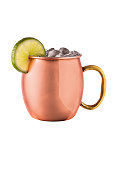 Refreshing Vodka Moscow Mule Cocktail on White with a Clipping Path