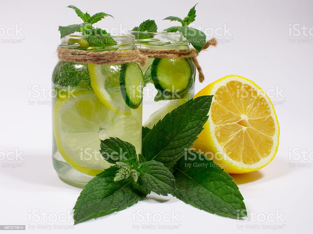 Refreshing water with lemon, mint and cucumber royalty-free stock photo