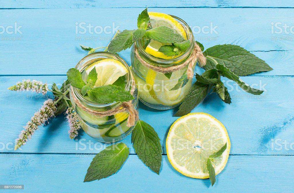 Eau rafraîchissante au citron, de menthe et au concombre photo libre de droits