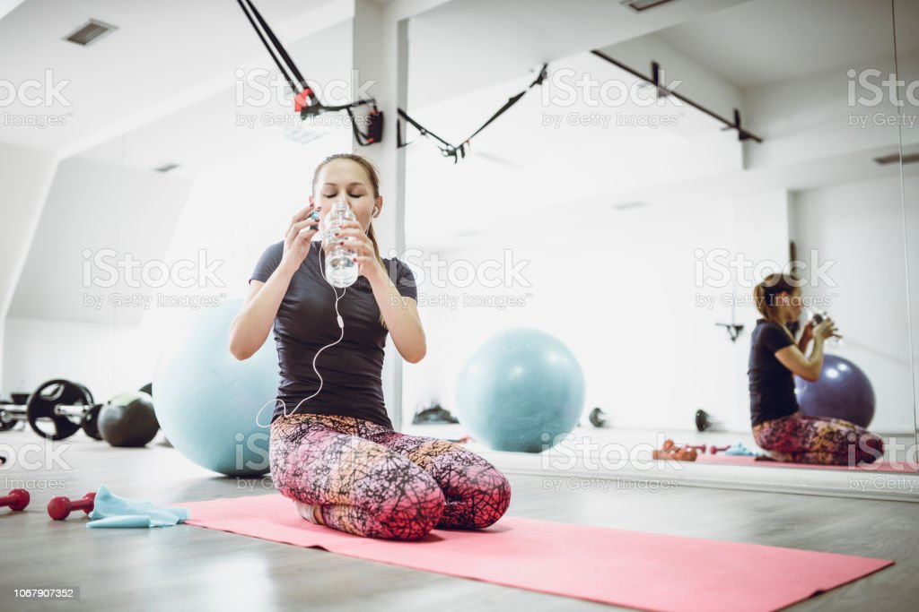 Refreshment After A Long Pilates Training stock photo