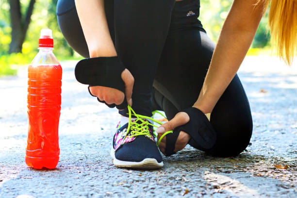 Refreshment after physical activity efforts stock photo