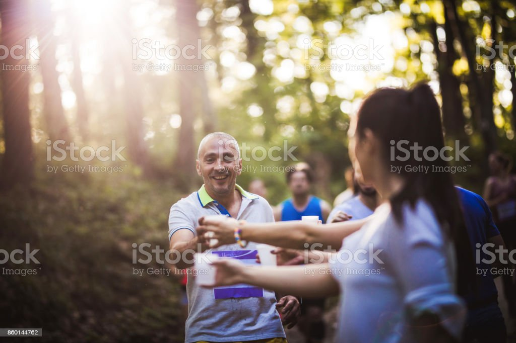 Refreshment during a marathon race! stock photo