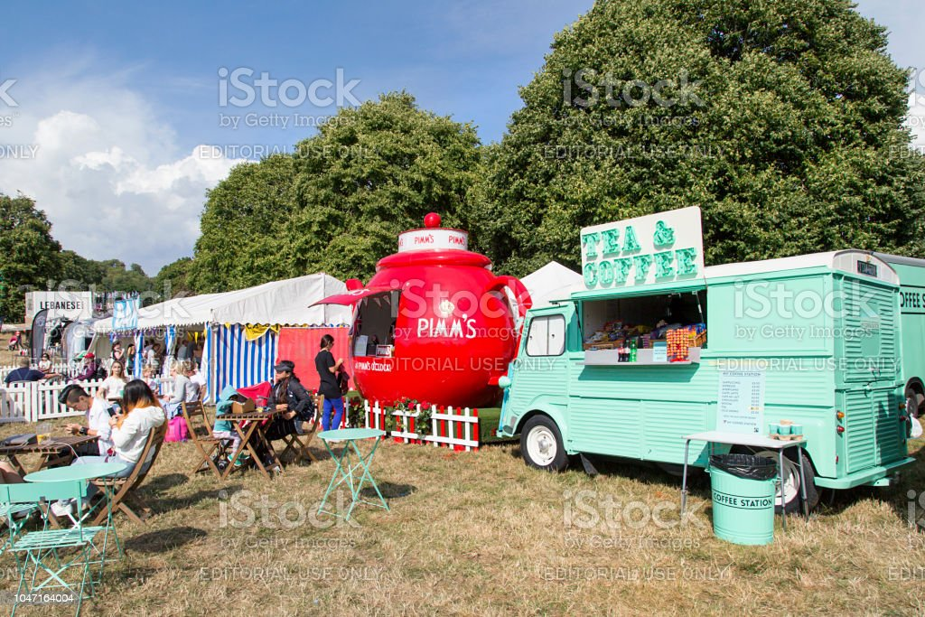 Refreshment Stalls at a Summer Carnival stock photo