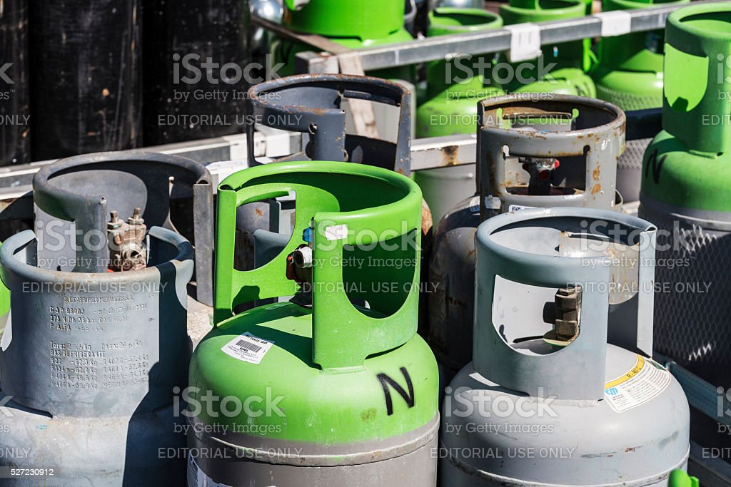 Refrigerant gas cylinders ready to transport stock photo
