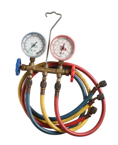 refrigerant pressure gauges - przyrząd pomiarowy narzędzie do pracy zdjęcia i obrazy z banku zdjęć