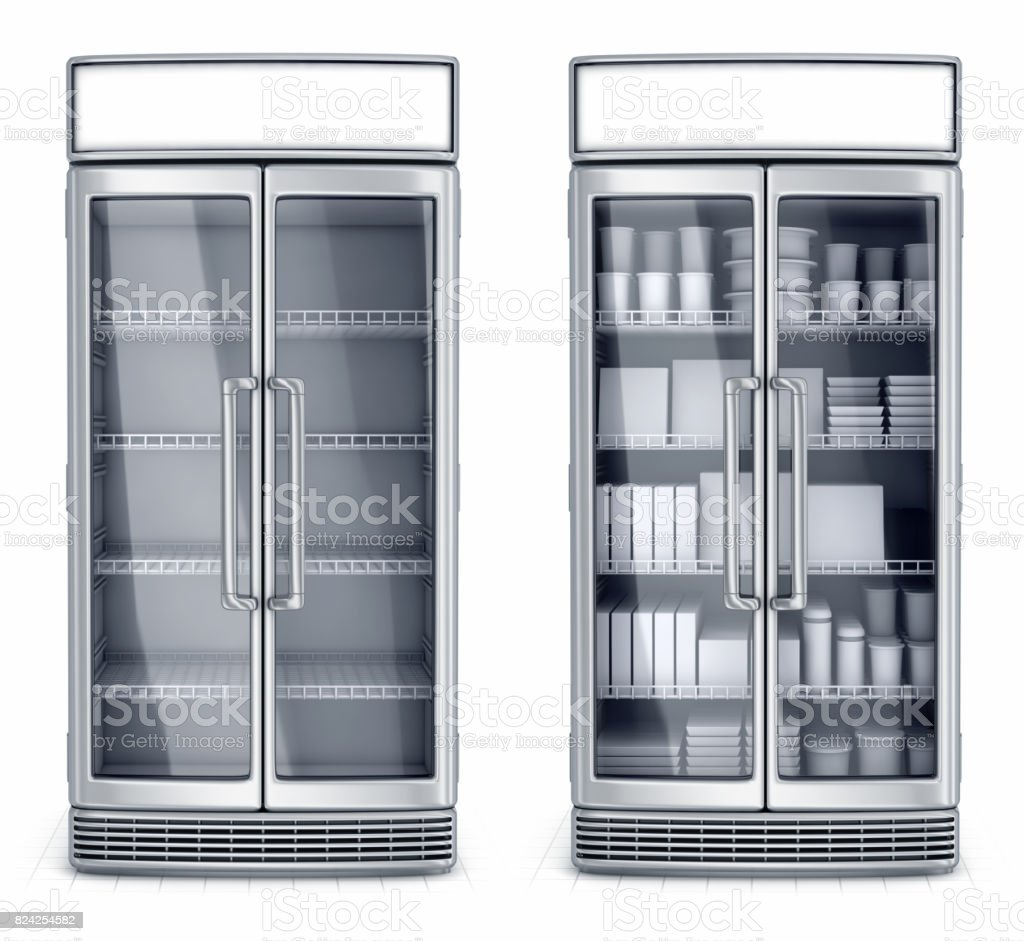 Refrigerated display case is empty and with the goods stock photo