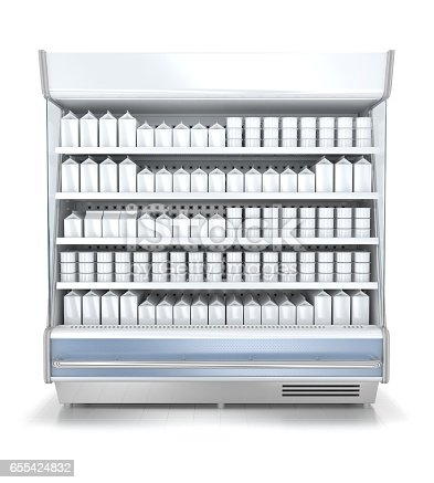 istock Refrigerated display cases with blank goods 655424832