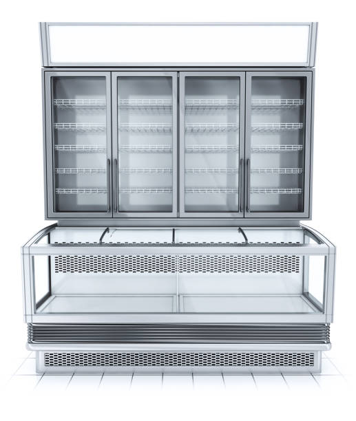 Refrigerated showcase for the halls of supermarkets. stock photo