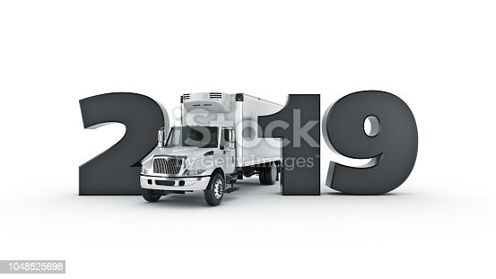 istock Refrigerated Truck concept 2019 New Year sign. 3d rendering. 1048525698